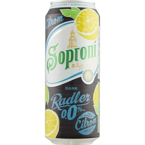 SOPRONI ALKOHOLMENTES SÖR DARK CITROM DOBOZOS 0,5L