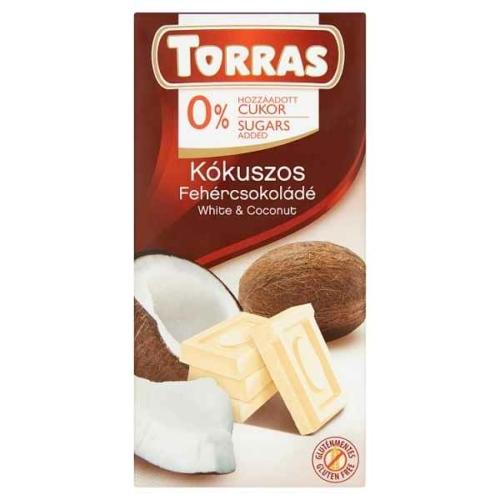 TORRAS KÓKUSZOS FEHÉRCSOKOLÁDÉ CUKORMENTES 75G